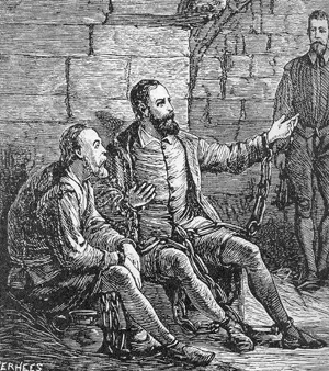 Pérégin de la Grange en Guido de Brés in die gevangenis: de brés, guido.